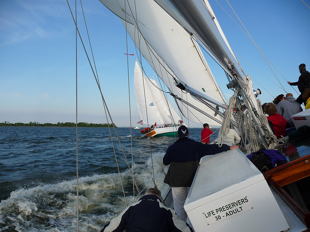 Racing Woodwind and Woodwind II on a Wednesday Night on the Chesapeake Bay