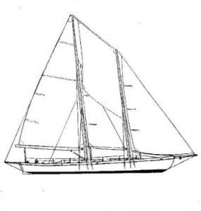 Line Drawing of the Schooner Woodwind