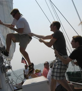Hauling up the sails with the crew of the Schooner Woodwind