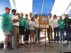 Schooner Woodwind crew with First Overall Trophy