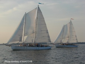 Schooner Woodwind and Woodwind II racing in the Wednesday Night Races