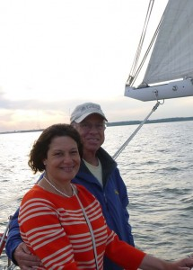 Couple Sailing the Woodwind at Sunset