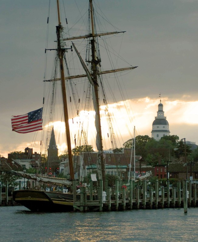 Historic Annapolis Skyline when sailing on Schooner Woodwind