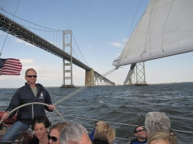 Sailing the Schooner during a Team Fun program