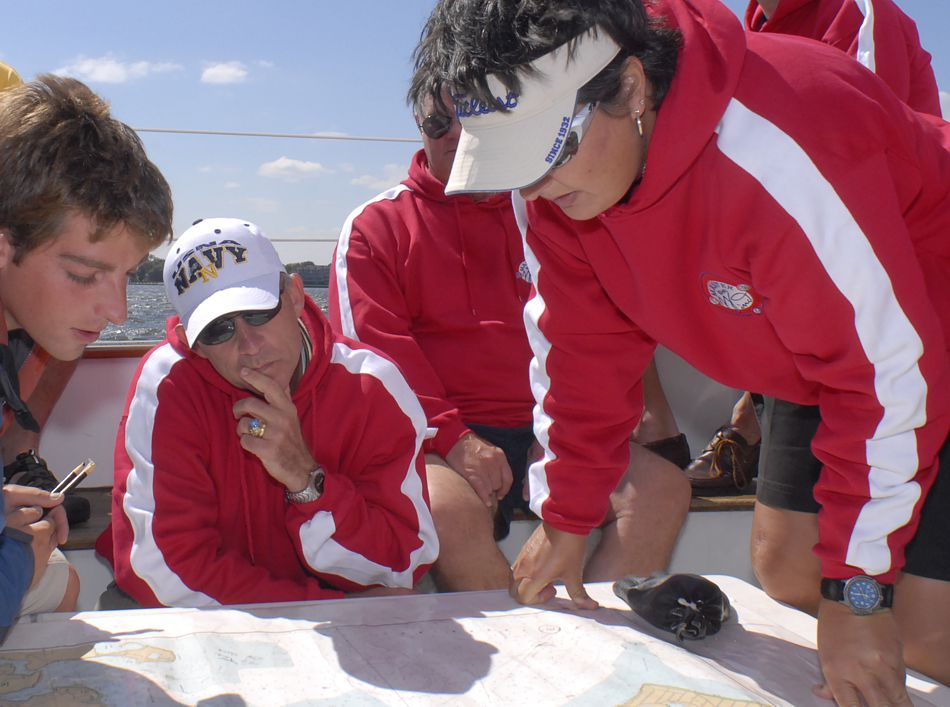Learning the charts while team building under sail