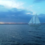 Schooner Woodwind II sailing into the sunset