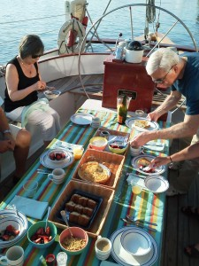 Breakfast time aboard the Schooner Woodwind B&B