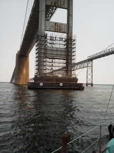Scaffolding work being done on the Chesapeake Bay Bridge