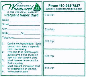 Schooner Woodwind Frequent Sailor Card