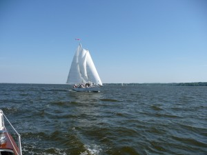 Sailing on the Schooner Woodwind, photo taken from Woodwind II