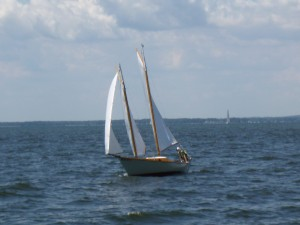 Small Schooner sailing in Annapolis along with the Woodwind