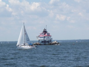 Sailing past Thomas Point Lighthouse on the Woodwind