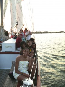 Sailing up the Severn River on the Schooner Woodwind II, celebrating Hillary's Sweet Sixteen!
