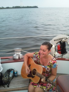 Emily Brooke performing on the Schooner Woodwind II as we sail into Annapolis