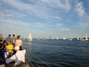 Watching the J boat races aboard Woodwind