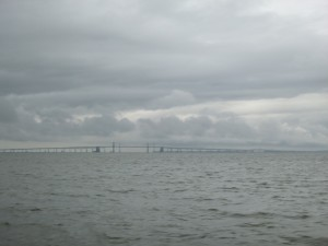 Chesapeake Bay Bridge with the dramatic clouds (taken from Schooner Woodwind II)