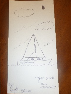 Drawing from a guest on the Schooner Woodwind