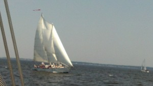 Schooner Woodwind saililng upwind
