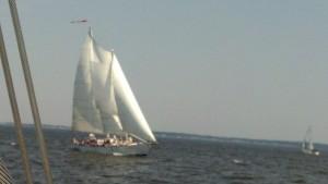 Schooner Woodwind saililng upwind