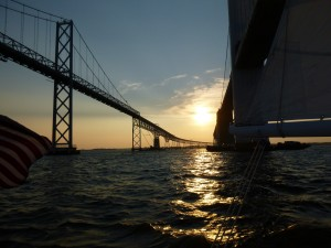 Bay Bridge Sunset Aboard Schooner Woodwind