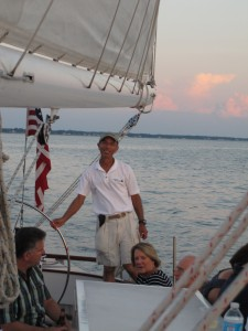 At the helm of the Schooner Woodwind II, I am delighted with this sail!