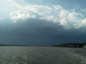 Clouds over the Severn River as we sail into the harbor.