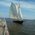 "Schooner ""Adventure"" sailing towards Schooner Woodwind II in Annapolis"