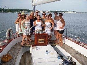 PA Teachers celebrating before school starts aboard the Schooner Woodwind