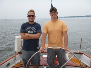 Dominic and Michael skippering the Schooner Woodwind