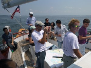 Navigation Team hard at Work on Schooner Woodwind