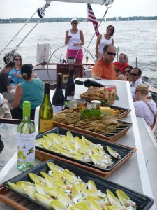 Delicious catering aboard Woodwind for Australian &amp; NZ Wine Tasting