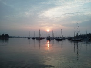 Sunrise over Annapolis Harbor, as seen from the Boat &amp; Breakfast 