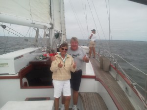 Maureen and Jim sailing on a private cruise on the Schooner Woodwind