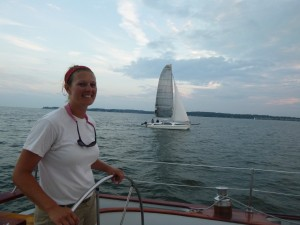Sailing Woodwind Alongside a Trimaran at the Mouth of the Severn River