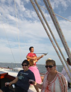 Austin Ellis sings aboard the Schooner Woodwind