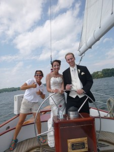 Happy couple on the Schooner Woodwind II