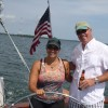 Jim and Michele at the Wheel of Schooner Woodwind