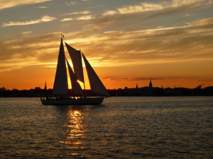 Sunset from Schooner Woodwind II of Schooner Woodwind in lovely Annapolis