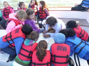 Girl Scouts learning about navigation on the Schooner Woodwind