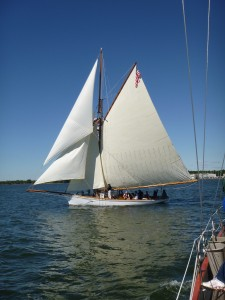 "1888 Sailing Vessel ""Elf"" sailing with all of her sails up"
