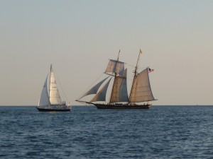 Pride of Baltimore II sailing in the Chesapeake Bay during sunset