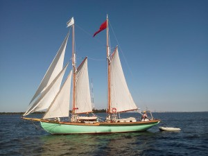 Schooner Martha White under sail, taken from Woodwind II