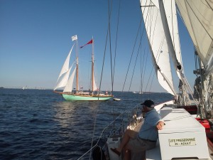 Schooner Woodwind and Martha White meet in Annapolis