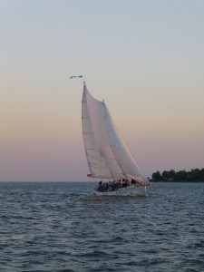 Sailing fast on Sunset Sail