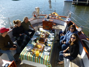 Breakfast on a beautiful morning on Schooner Woodwind.