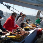 Going through the buffet line on the Schooner Woodwind II for Mother&#039;s Day Brunch.