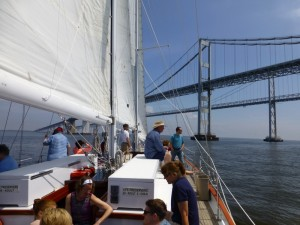 Sailing under the Chesapeake Bay Bridge.