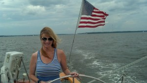 Jackie at the helm.