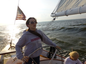 Emma sailing the Woodwind
