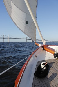 On the foredeck looking at the Bay Bridges.